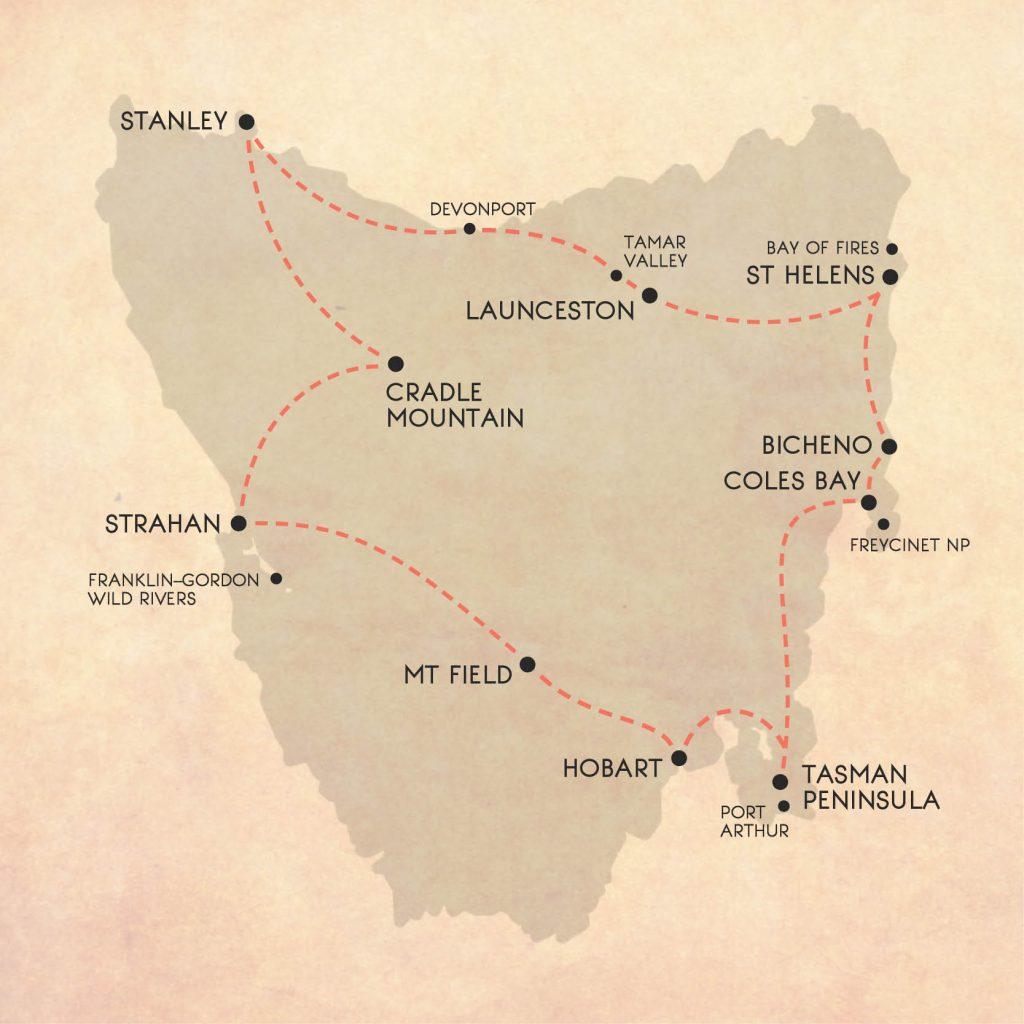 14 night Tasmania road trip itinerary from Hobart, Launceston, or Devonport
