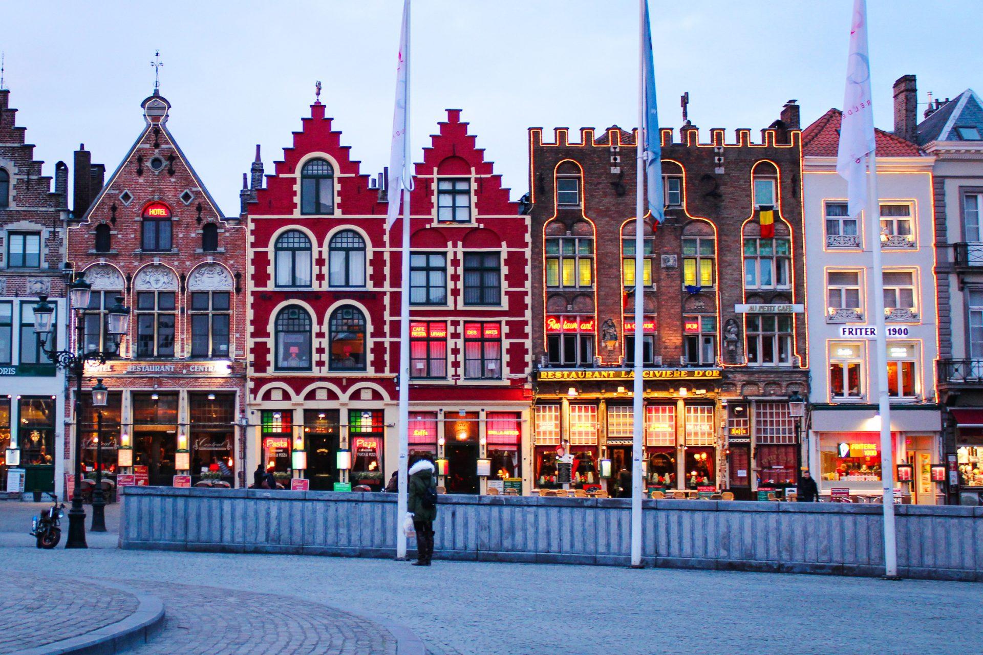 Colourful building facades in Bruges, Belgium