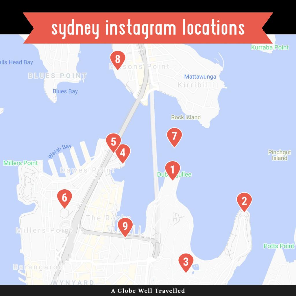 Map of Sydney Instagram locations