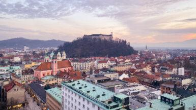 Views of Ljubljana Castle from Nebotičnik Skyscraper in Ljubljana, Slovenia