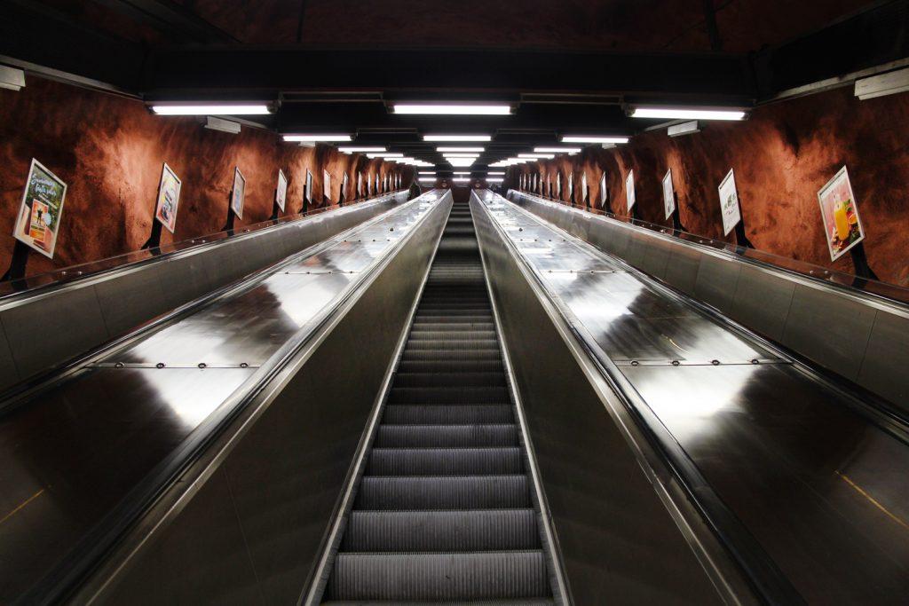 The escalators at Rådhuset station in Stockholm