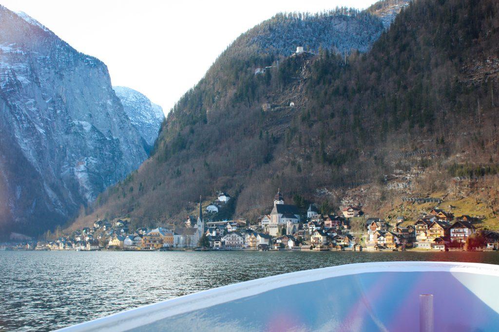 Catching the ferry from Hallstatt Bahnhof to Hallstatt town