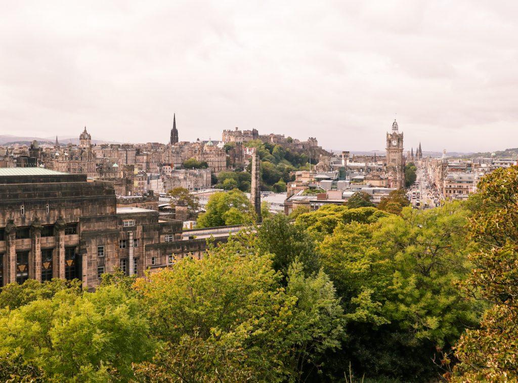 Views of Edinburgh old town from Calton Hill